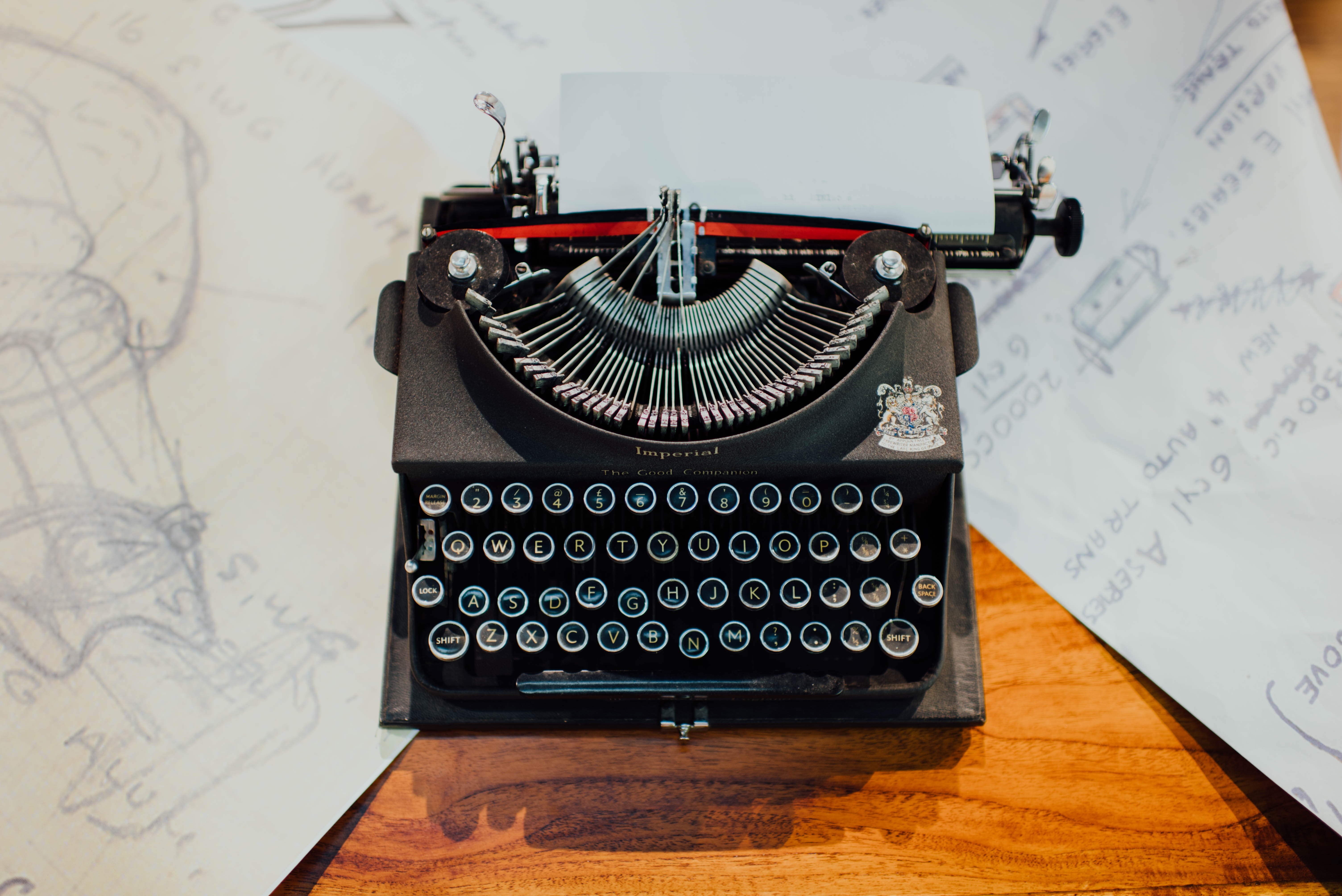 typewriter with drawings
